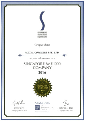 Singapore SME 1000 - Certificate of Achievement Year 2016